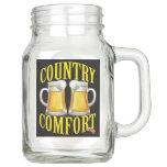 Hand shaped Country Comfort - Peanuts and Beer - See Back Mason Jar