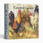 Country Cookin' Roosters Hen Baby Chicks Cookbook Vinyl Binder