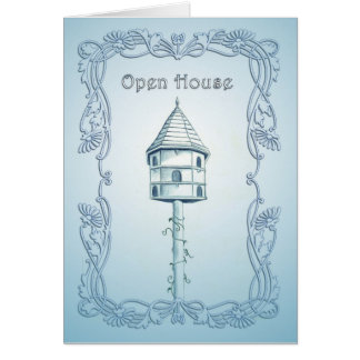"""""""Country Cottage Bird House"""" Open House Invitation Stationery Note Card"""