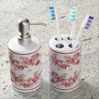 Country Cottage Floral Bath Accessories In Pink Bathroom Set