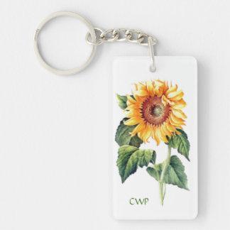 Country Cottage Garden Sunflower Optional Monogram Double-Sided Rectangular Acrylic Keychain