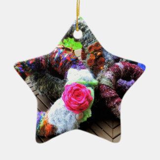 Country Cottage Hand Spun Wreaths Design Ceramic Ornament