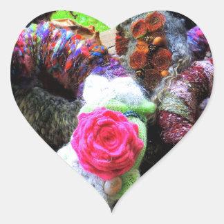 Country Cottage Hand Spun Wreaths Design Heart Sticker