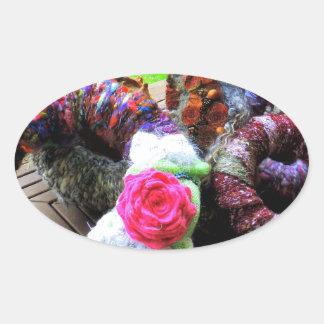 Country Cottage Hand Spun Wreaths Design Oval Sticker