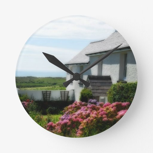 Country Cottage in Wales Round Clocks