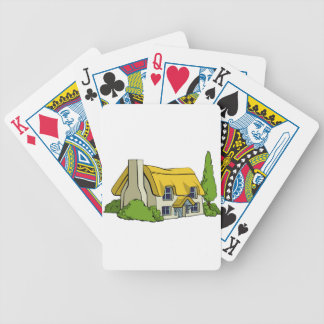Country cottage or farm house bicycle playing cards