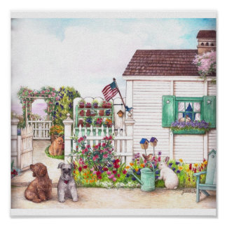 COUNTRY COTTAGE PETS POSTER