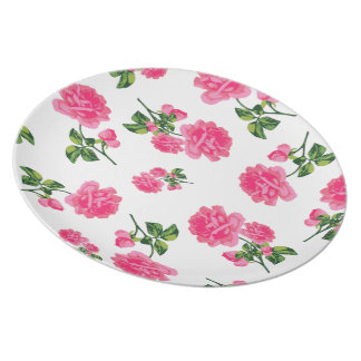 Country cottage pink roses white plate
