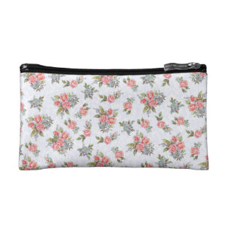 Country cottage roses pink floral pattern cosmetic bag