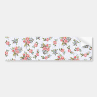 Country cottage roses pink floral pattern bumper sticker