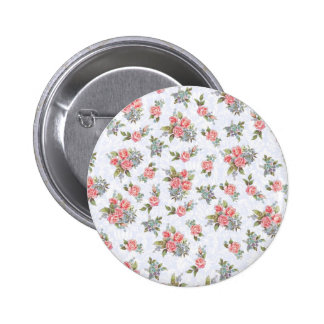 Country cottage roses pink floral pattern button