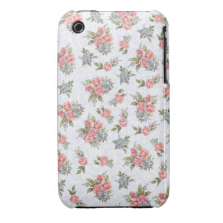 Country cottage roses pink floral pattern Case-Mate iPhone 3 case
