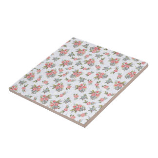 Country cottage roses pink floral pattern ceramic tile