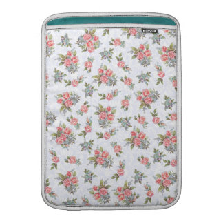 Country cottage roses pink floral pattern MacBook sleeve