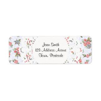 Country cottage roses pink floral pattern return address label