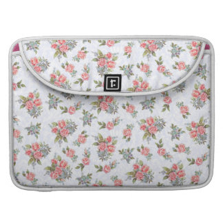 Country cottage roses pink floral pattern MacBook pro sleeves