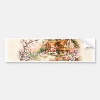 Country Cottage with Flowers Bumper Sticker