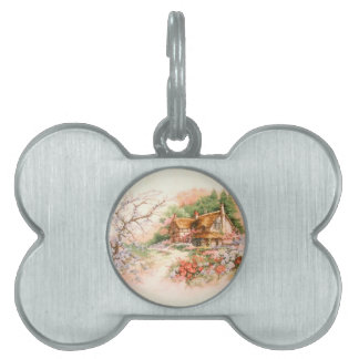Country Cottage with Flowers Pet Tag