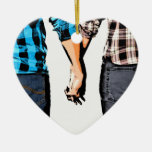 Country Couple Boy and Girl Holding Hands Ceramic Ornament