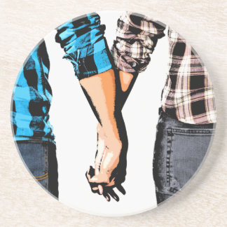Country Couple Boy and Girl Holding Hands Coasters