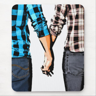Country Couple Boy and Girl Holding Hands Mouse Pad