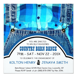 Country Couple Engagement Party Denim and Plaid Invitation