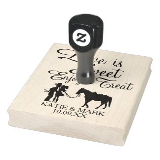Country Couple Love is Sweet Rubber Stamp