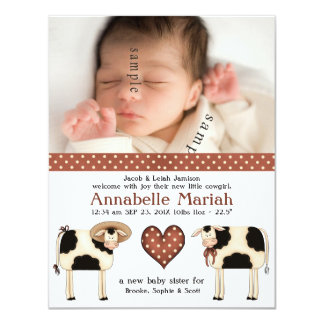 Country Couple New Baby Girl Photo Birth Card