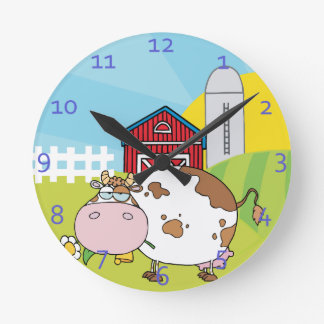 Country Cow Design Round Wall Clocks