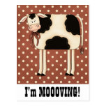 Country Cow Lady Moving Change of Address Notice Postcard