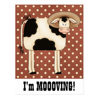 Country Cow Man Moving Change of Address Notice Postcard