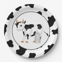 Country cow party paper plates