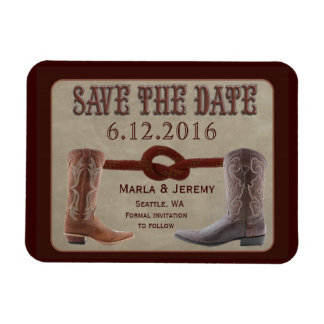 Country cowboy boot save the date rectangle magnets