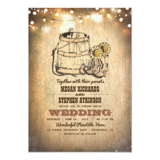 Country Cowboy Boots and String Lights Wedding Card