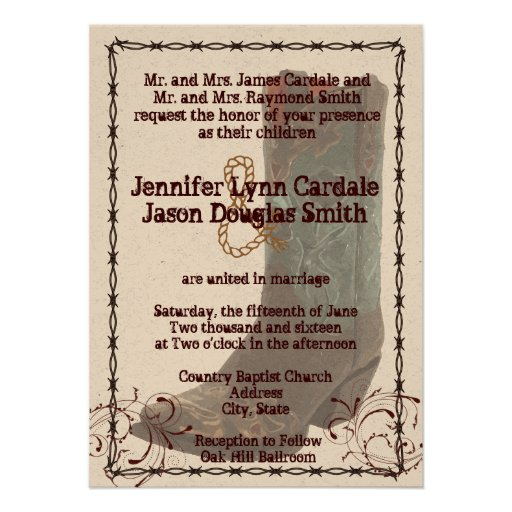 """Country Cowboy Boots Barbed Wire Wedding Invites 4.5"""" X 6"""