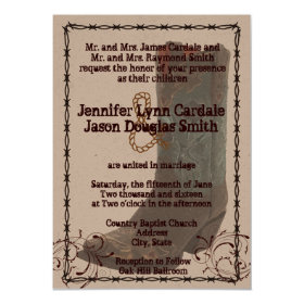Country Cowboy Boots Barbed Wire Wedding Invites