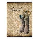 country cowboy boots damask vintage bridal shower invites