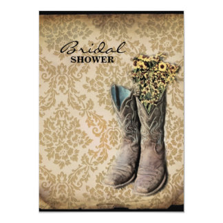 country cowboy boots damask vintage bridal shower 4.5x6.25 paper invitation card
