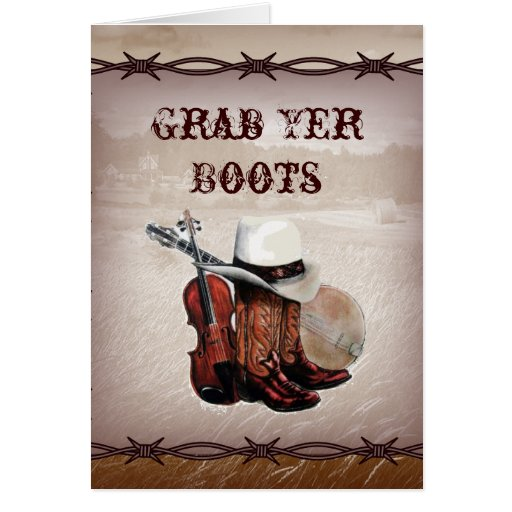 Country Cowboy Boots Farm Wedding Invitation Greeting Card