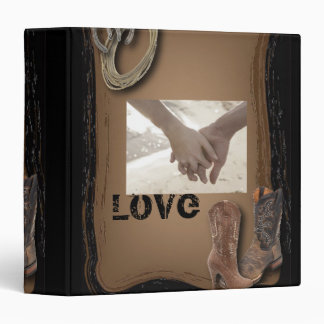 Country Cowboy Boots Western Wedding 3 Ring Binders