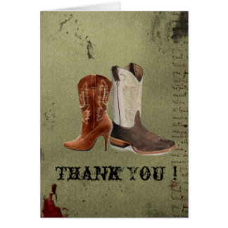 Country Cowboy Boots Western Wedding Favor Cards