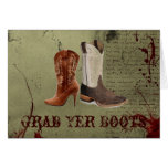 Country Cowboy Boots Western Wedding Favor Greeting Card