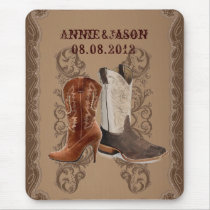Country Cowboy Boots Western Wedding Favor Mouse Pad