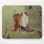 Country Cowboy Boots Western Wedding Favor Mouse Pads