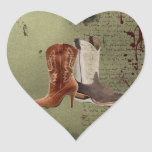 Country Cowboy Boots Western Wedding Favor Heart Stickers