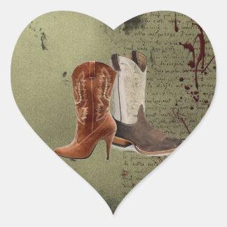 Country Cowboy Boots Western Wedding Favor Heart Sticker