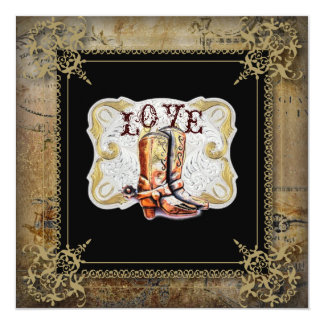 """Country Cowboy Boots Western Wedding Invitation 5.25"""" Square Invitation Card"""