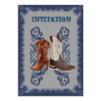 Country Cowboy Boots Western Wedding Invitation
