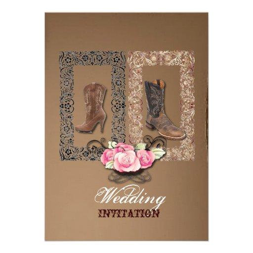 "Country Cowboy Boots Western Wedding Invitation 5"" X 7"