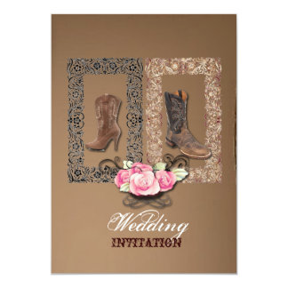 "Country Cowboy Boots Western Wedding Invitation 5"" X 7"" Invitation Card"